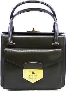 10937f42cb3c Prada Front Lock Olive Green Militare Box Calf Leather Shopping Tote BN2708