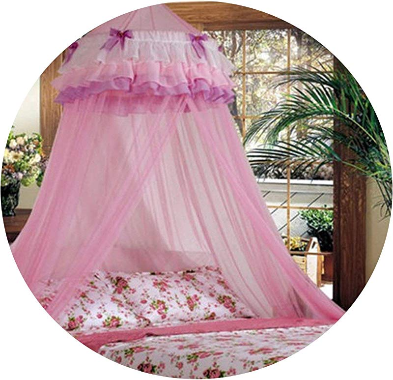 Baby Children Elegant Lace Bed Dome Elegent Lace House Bed Netting Canopy Circular Pink Malla De Round Dome Bedding Mosquito Net Pink