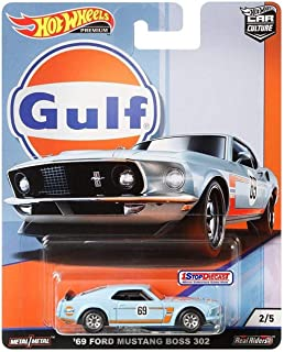 Hot Wheels Car Culture Gulf Oil Series 2/5 - '69 Ford Mustang Boss 302 - Real Rides Have Real Rubber Tires! Great Collectors Item!
