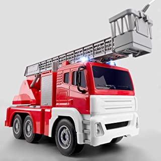 Gizmovine Fire Truck Toy Friction Power with Lights and Sounds, Fire Engine Toys Emergency Vehicle With Working Pump Pull Back Construction Toys Vehicles for Toddlers Boys 4, 3, 2 Year Old, 1:14 Scale