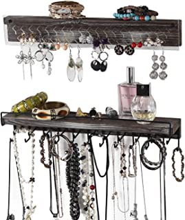 J JACKCUBE DESIGN 2-Piece Wall Mount Jewlery Organizer with 23 Hook Necklace & Bracelet Racks, Rustic Wood Hanging Earring Bar with Clear Acrylic - MK585A