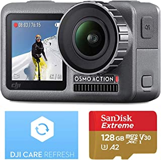 DJI OSMO Action Camera with DJI Care Refresh, Comes 128GB Extreme Micro SD, with 2 Displays, 11m Waterproof, 4K HDR Video, 12MP 145 Degree Angle (Black)