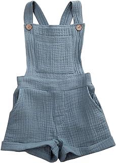 N / A Whitzard Baby Baumwolle und Leinen Overall Säugling Strampeler Kinder Jungen Mädchen Latzhose mit Knöpfen Unisex ärmelloses Einteiler Outfits Kleidung