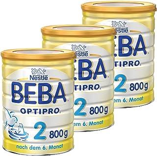 Nestlé BEBA雀巢貝巴 OPTIPRO 2段初始后續奶粉 適合6個月以上嬰幼兒 3罐裝 (3 x 800 g)(不含助溶劑,沖泡需用力搖,沖后有結晶非品質問題,請放心食用)