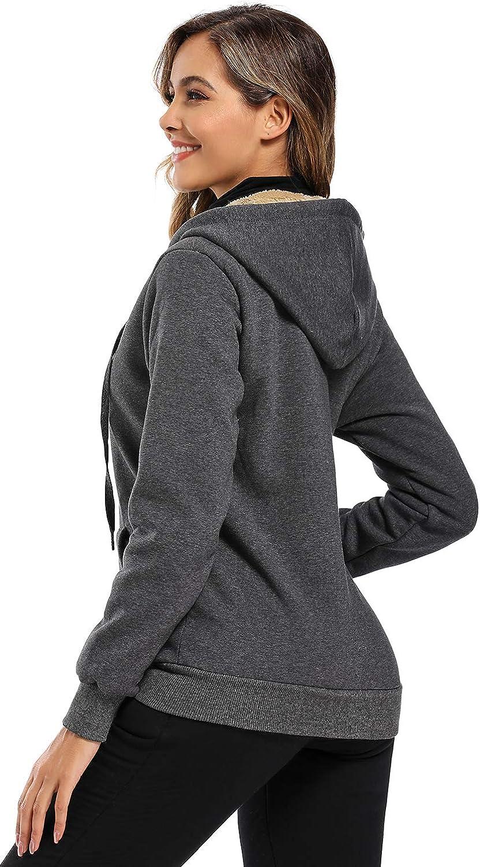 Obosoyo Womens Casual Winter Warm Sherpa Lined Thick Zip Up Hooded Sweatshirt Jacket Coat