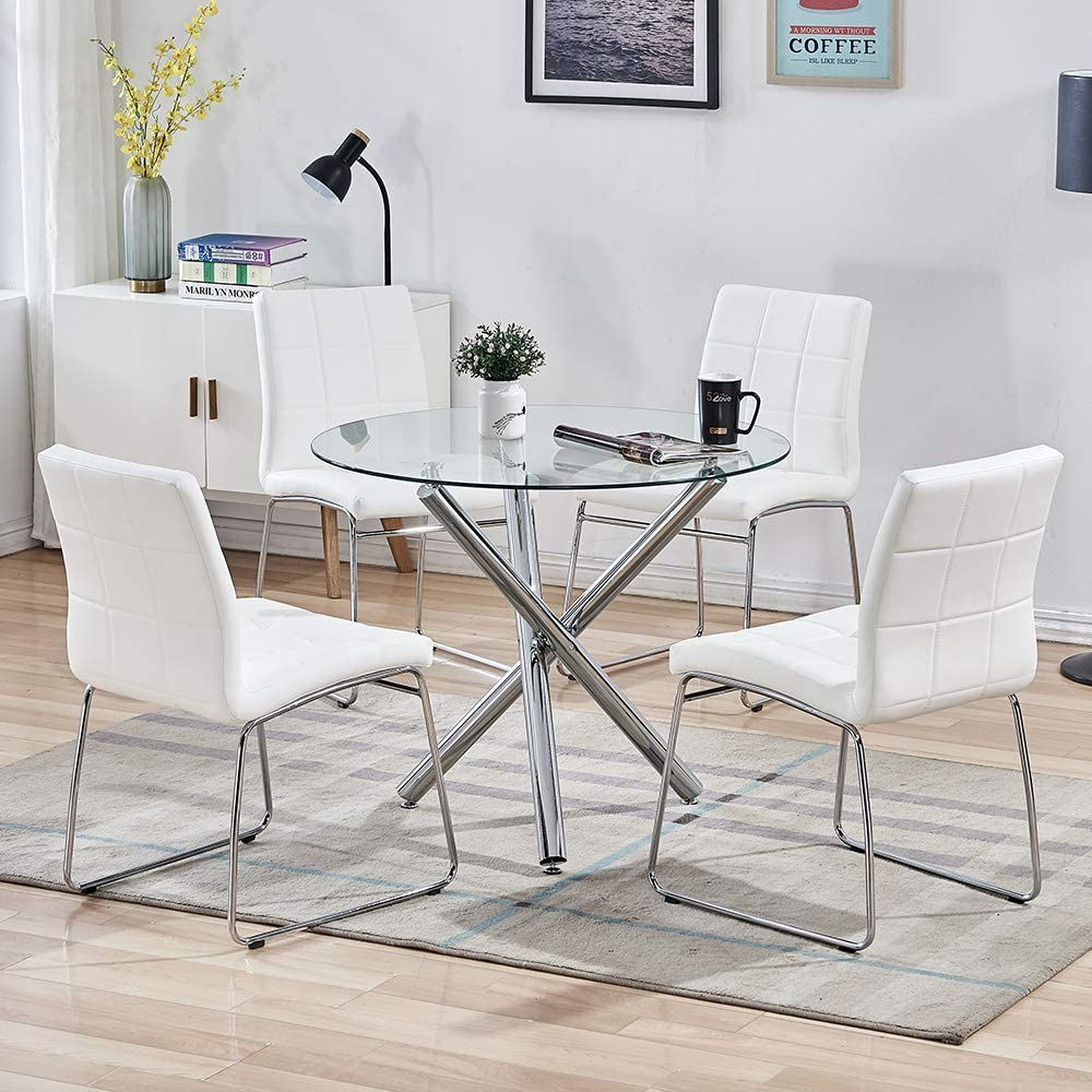 SICOTAS Round Dining Table Set,Modern Kitchen Table and White Chairs,Dining  Room Table Set with Clear Tempered Glass Top, Dining Set for Dining Room ...