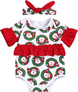 Happy Town Newborn Baby Girl Christmas Clothes Ruffle Santa Claus Romper Jumpsuit Bodysuit Headband Outfits Clothes 0-18M