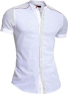 D&R Fashion Mondo Men's Linen Shirt Short Sleeve Band Mandarin Collar Red Zip Cut and Sew