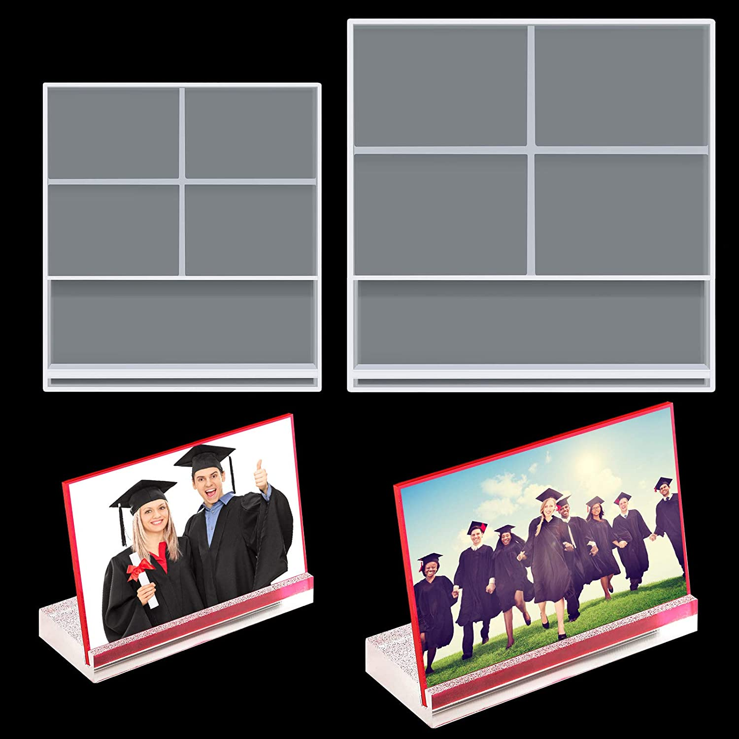 2 Pieces Resin low-pricing Surprise price Photo Frame Silicone Mould Rectangle Epoxy Pictu