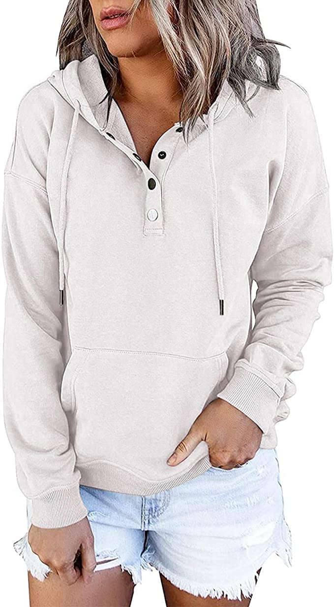 Trendy Pullover Hoodies for Women Casual Long Sleeve Ladies Sweatshirts Solid Button Down Drawstring Pocket Tops