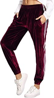 Women's Jogger Pants Tape Side Velvet Drawstring Sweatpants with Pockets