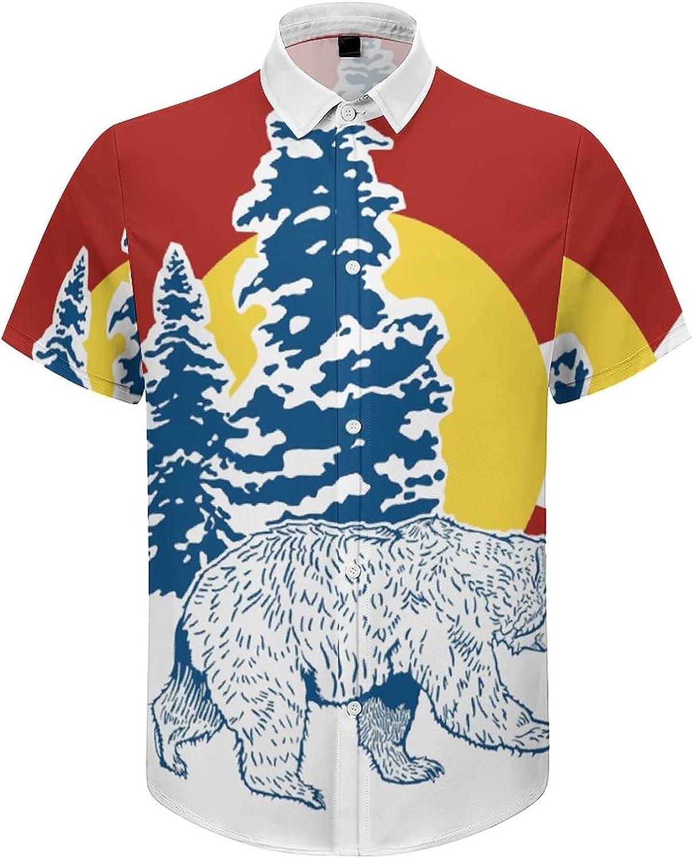 Men's Short Sleeve Button Down Shirt Colorado Flag Bear Summer Shirts