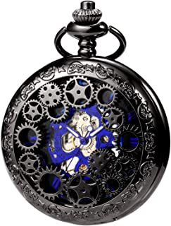 Mens Womens Mechanical Skeleton Pocket Watch Gear Hollow Case Steampunk Blue Hands Fob Watches with Chain Box