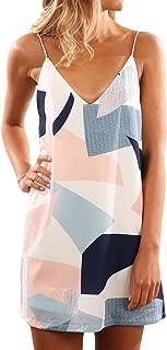 Shawhuwa Womens Sexy Print Summer Beach Boho Straps Short Dress