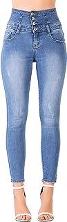 Glook Pantalon Femme Denim Jeans Slim Taille Haute Jean Stretch Pant