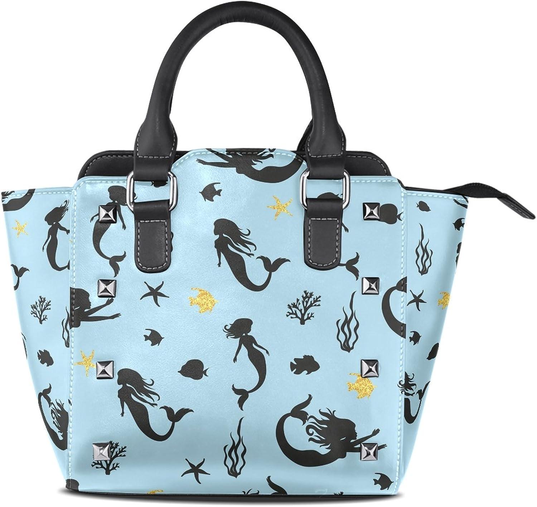 My Little Nest Women's Top Handle Satchel Handbag Cute Mermaids Ladies PU Leather Shoulder Bag Crossbody Bag