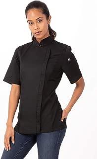 Chef Works BCWSZ006-BLK-S Women's Weight Short Sleeve Zip Coat, Small, Black