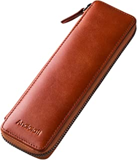 Ancicraft Pencil Case Leather Pouch Fountain Pen Holder With Zipper For Men Women (Brown)