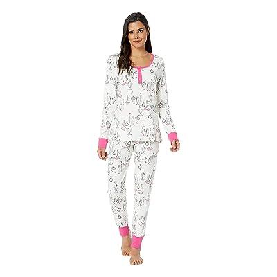BedHead Pajamas Long Sleeve Henley Pajama Set (Love Letters) Women