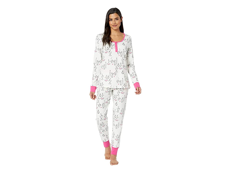 BedHead Long Sleeve Henley Pajama Set (Love Letters) Women