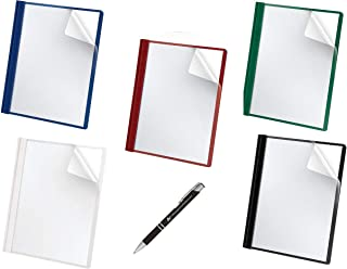 Oxford Premium Clear Front Report Covers, Letter Size, Assorted, 5 Per Pack (588series) Black, Blue, Green, Red and White with Custom Advantage Black and Chrome Pen