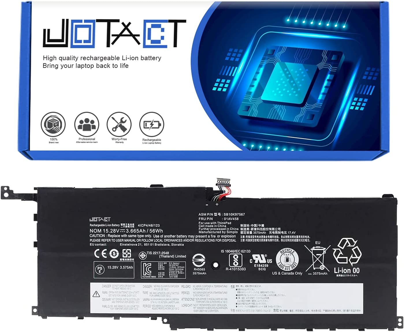 JOTACT 01AV458 Max 72% OFF SB10K97567 15.28V 56Wh R 3665mAh Laptop Battery Max 64% OFF