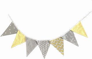 Banderines Decorativos de Tela, guirnalda de banderas banner color gris y amarillo