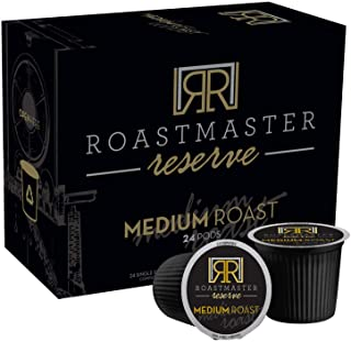 """Roastmaster Reserve Medium Roast Coffee Pods – 24ct. Limited-Batch Rare Coffee """"Costa Rican El Tigre Blend"""" packed in Recyclable Single Serve Pods, k-cup compatible including 2.0"""