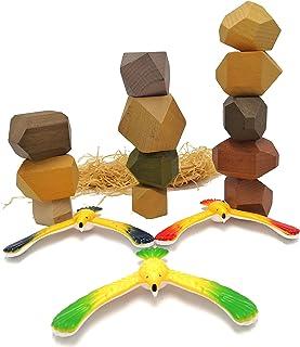 BMARLF Stacking Blocks Big Building Blocks Wooden Toys Rock and Play Kids Love Rocks 12 Pcs with Balancing Birds 3 pcs