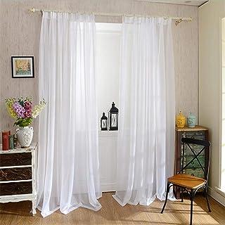 Lot De 2 Rideaux Voilages Blanc, 100x200 Cm avec Passe Tringle Salon Draperies Souple Tulle Voile Panneaux pour Décoration...