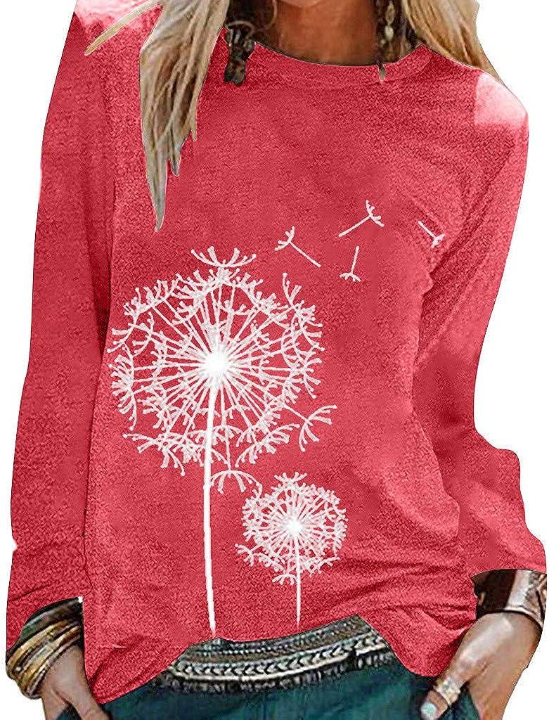 Womens Sweatshirts and Hoodies,Women's Tunics Shirts Tops Casual Long Sleeve Round Neck Loose Soft Striped Tunics