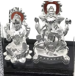 Balaji LLC Lakshmi/Laxmi Ganesha Pure Silver (99.5%) Idol/Statue/Murti (Figurine# 04)