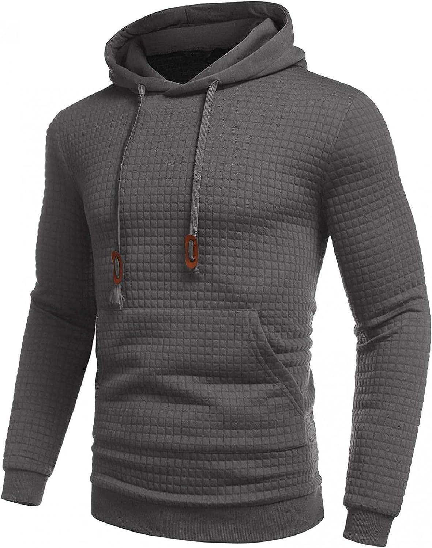 Mens Hoodies Fashion Athletic Hoodies Sport Sweatshirt Solid Color Fleece Pullover Drawstring Tops