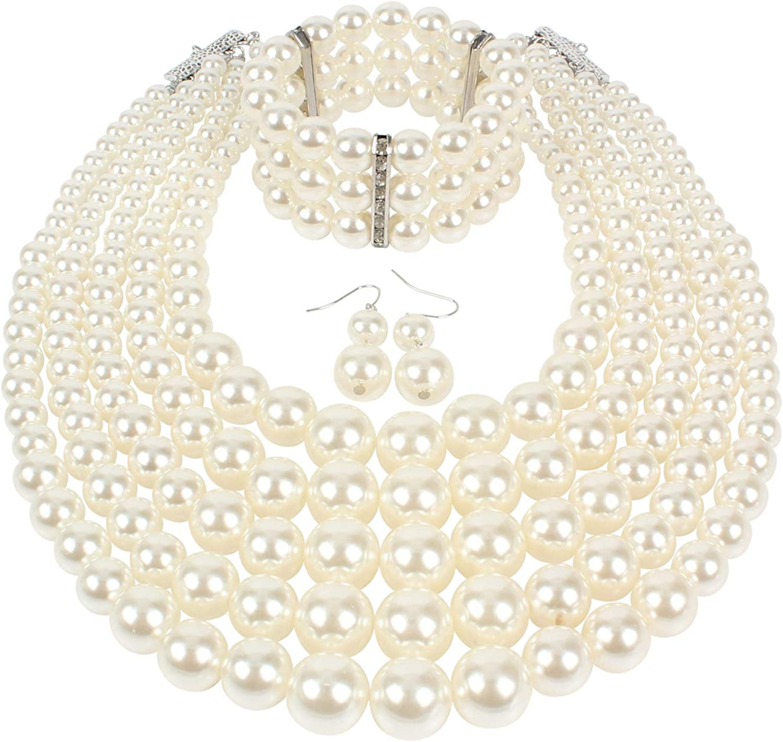 KOSMOS-LI Multi Layer Pearl Strand Costume Jewelry Sets