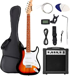LAGRIMA 39 Inch Full Size Electric Guitar Starter Kit with 20W Amp, Case and Accessories Pack Beginner Starter Package (39, Sunburst)