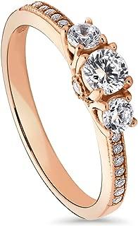 3 stone rose gold engagement ring