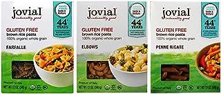 Jovial Organic Gluten-Free Brown Rice Italian Pasta 3 Shape Variety Bundle: (1) Farfalle, (1) Elbows, and (1) Penne Rigate, 12 Oz. Ea.