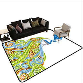 Egyptian Area Rug, Contemporary Illustration of Ancient Egyptian Woman Pharaoh with Her Crown Queen Chair Mat Floor Carpet for Bedroom Living Room, 4` x 6` Multi