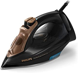 Philips PerfectCare Steam Iron with SteamGlide Plus Soleplate, 2400W, 185g Steam Boost, Black/Gold, GC3929/64
