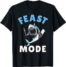 Feast Mode Shark Thanksgiving Kids Cartoon Great White T-Shirt