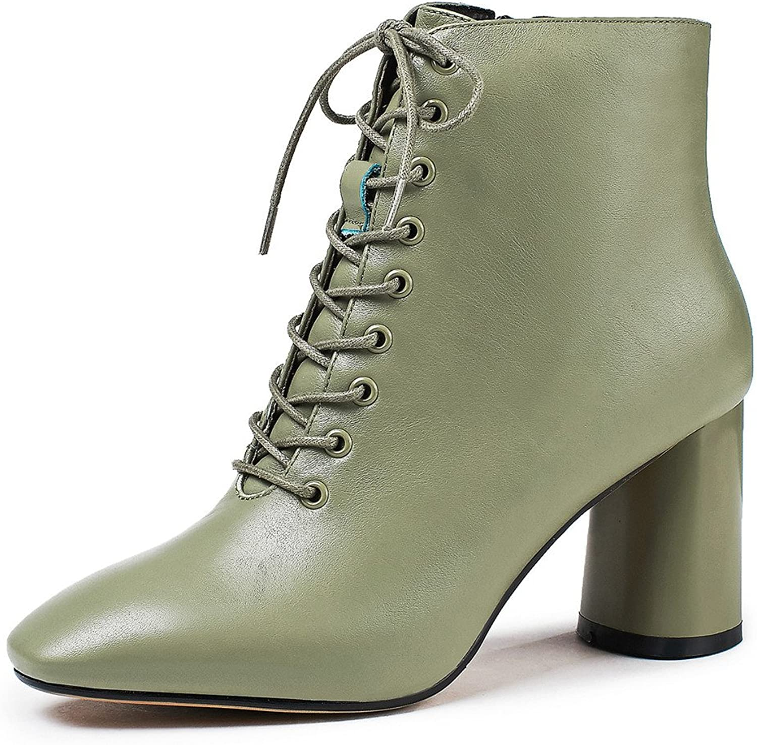Nine Seven Genuine Leather Women's Square Toe Chunky Heel Side Zip Handmade colorful Dress Ankle Booties