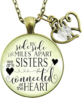 """Gutsy Goodness 24"""" Love My Sister Necklace Side by Side Long Distance BFF Jewelry Gift"""