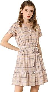 Allegra K Women's Plaid V Neck Button Down Belted A-Line Dress