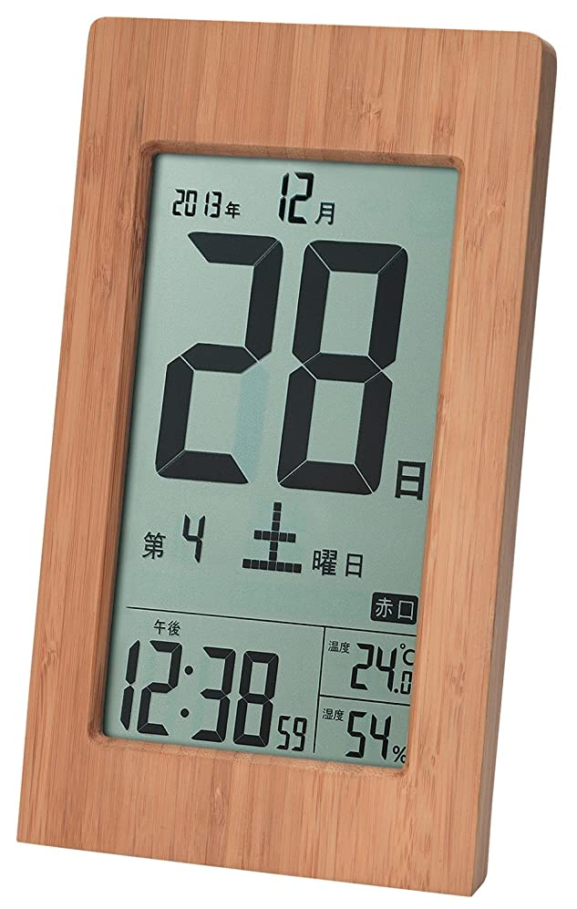 テクスチャー寄託ピルファーADESSO(アデッソ) 置き時計 竹の日めくり電波時計 六曜 温度 湿度 日付表示 記念日設定 置き掛け兼用 ブラウン T-8656