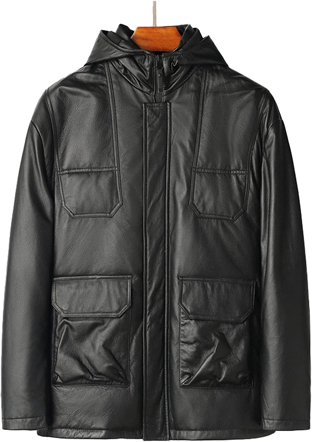 Men's Leather Down Jacket Short-Length Winter Thickened Cowhide Leather Jacket Loose Winter Warm Windproof Jacket