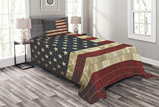 Lunarable American Flag Bedspread, Abstract Mosaic Flag of USA Grungy Design Square Shaped Illustration, Decorative Quilted 2 Piece Coverlet Set with Pillow Sham, Twin Size, Blue Cream