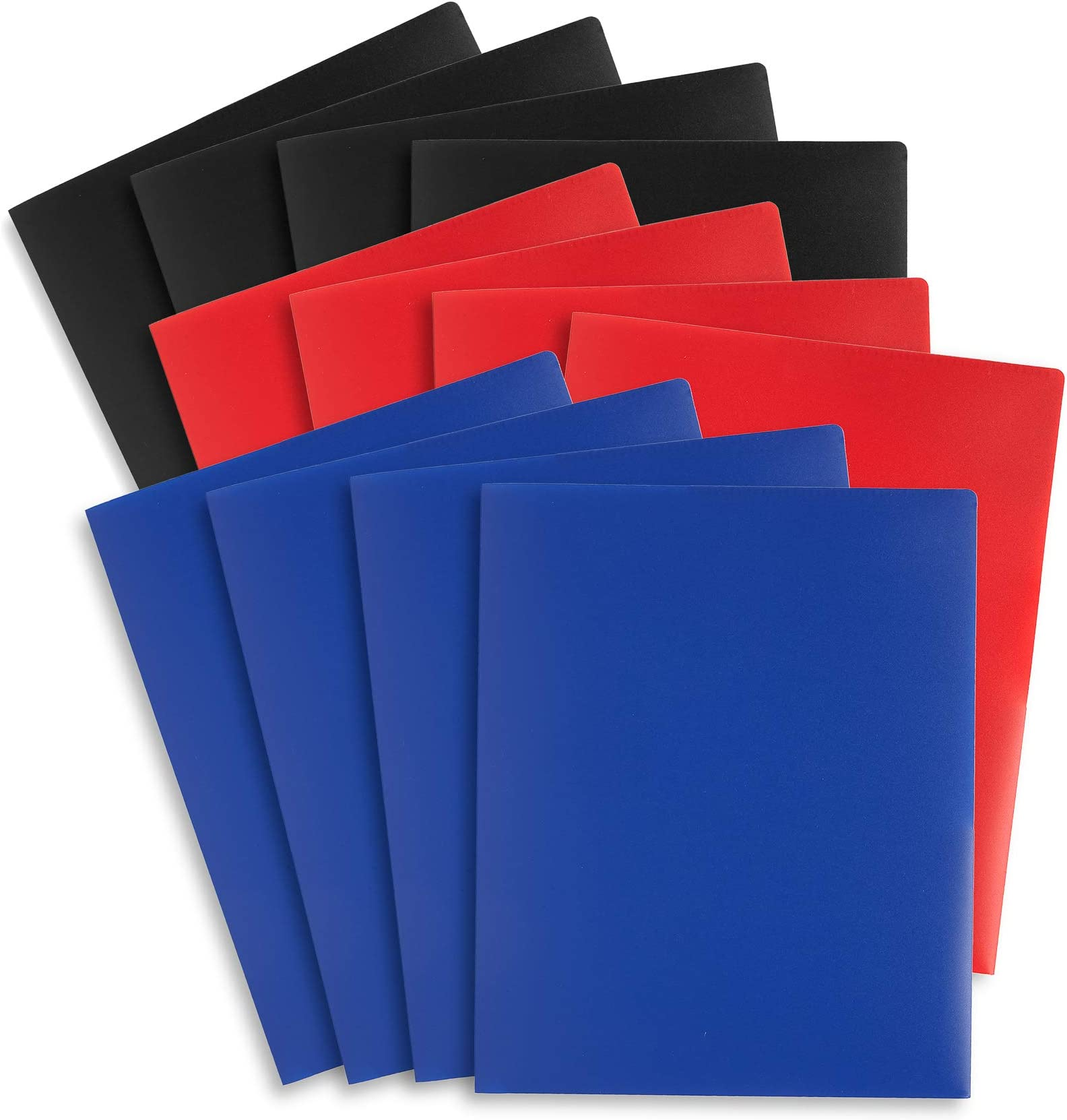 Blue Summit Supplies 6 Plastic Two Pocket Folders with Prongs Assorted Gem Tones Letter Size with Business Card Slot 6 Pack Durable Poly 2 Pocket Folders with Clasps
