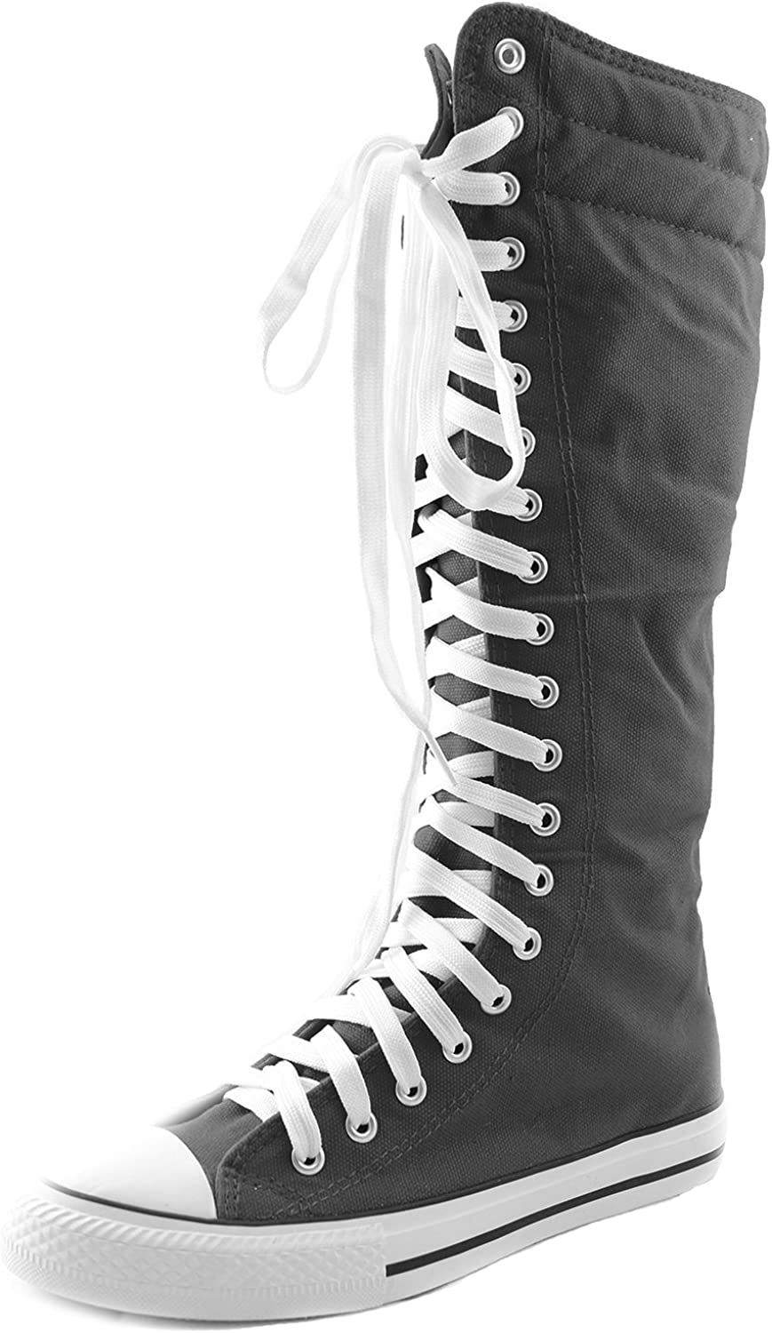 Dailyshoes Women's Canvas Mid Calf Tall Boots Casual Sneaker Punk Flat, Sky bluee