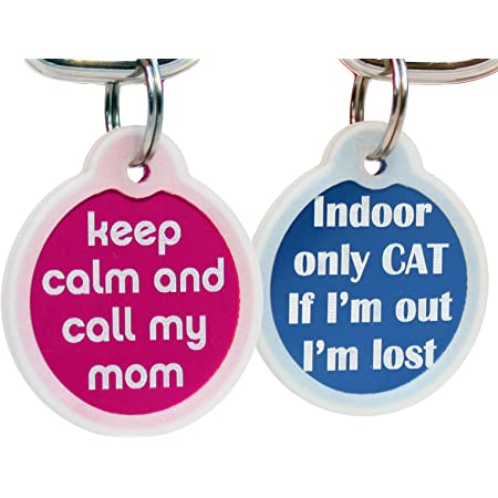 Indoor Cat Customized Pet Tag Phone Number on Back SMALL Cat Tag Personalized Cute Cat Tag