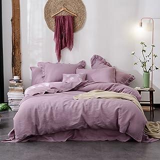 Lausonhouse Linen Quilt Cover Set,100% Pure French Linen Doona Cover Set,Luxurious Bedding Set 3 Pieces- Mauve -Queen Set